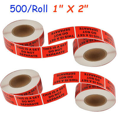 "4 Rolls 1"" X 2"" This Is a Set Do Not Separate Shipping Stickers Labels 500/Roll"