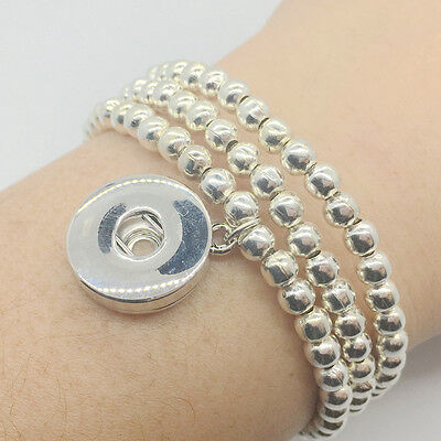e52bc226f Silver Snap Charm Bracelet Interchangeable 18mm Snap Jewelry Fit Snap  Buttons