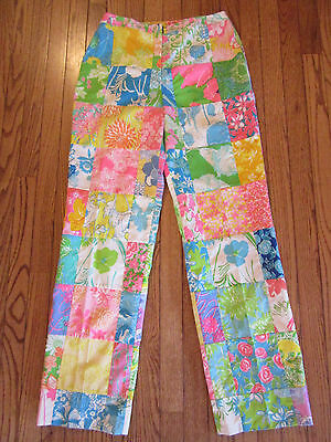"Vtg. Lilly Pulitzer ""the Lilly"" 60's High Waist Patchwork Floral Print Pants~10"