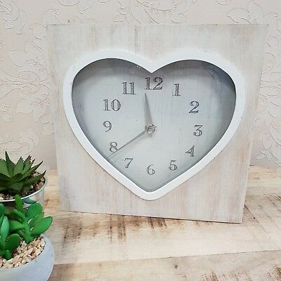 Shabby Chic Style Mantle Clock Wooden Square White Heart Face Home Gift Wall