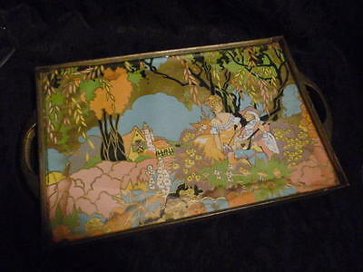 FOOTED ART DECO METAL TRAY DRESSER COLORFUL PAPER under glass BEAUTY ~