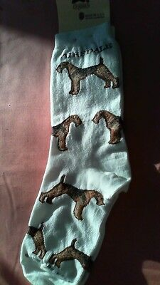 Airedale Terrier Socks by For Bare Feet NWT