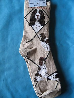 English Springer Spaniel Socks Tan Size Large by Wheelhouse Design NWT