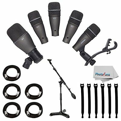 Samson DK705 5-Pc Drum Mic Kit With Case + Boom Stand + 5 Cables + Straps +Cloth