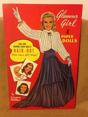 Paper Doll –  GLAMOUR GIRL 4 PAPER DOLLS - Queen Holden - Repro 1985 - SC Uncut