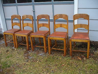 Set 5 Vintage 1942 Oak Wood Kitchen Dinette Dining Chairs Hoosier Style