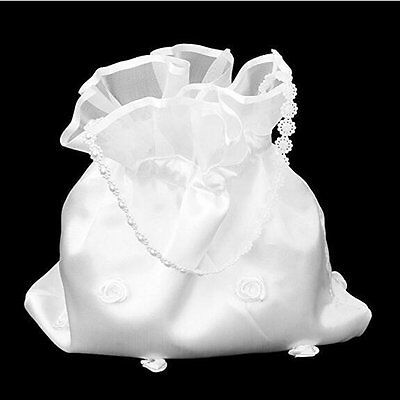 White Satin Bridal Bridesmaid Flower Girl Wedding Prom Dolly Bag Posy Bag UK
