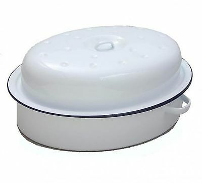 Falcon 26cm Oval Enamel Roaster With Lid Traditional White