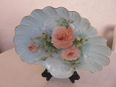 Limoge Plate Pink Hand Painted Roses Signed by Artist