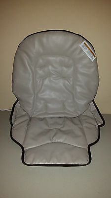 NEW Graco Blossom High Chair Seat Pad Cover GrayishTan /Dark Brown safety label
