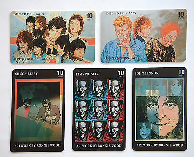 Collectible Rolling Stones Set Of 5 - Ltd Edition - Ronnie Wood Art Phone Cards