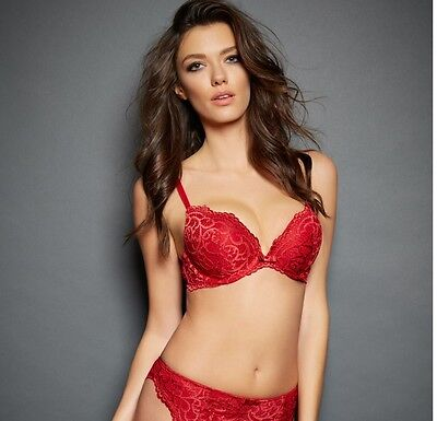 32e8605f3be Fredericks Of Hollywood Lace Heart Throb Push Up Convertible Bra 36C NEW Red