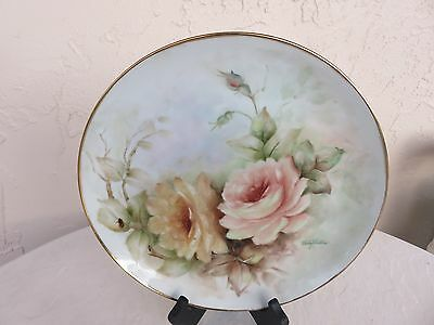 Limoge Plate Pink Hand Painted Roses Signed by Dolly Waters