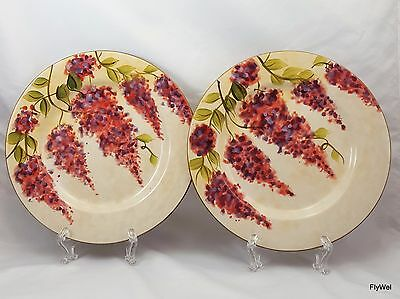 "Wisteria Dinnerware by Heritage Mint Salad Plates 8.5"" Set of 2 Pink Purple"