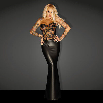 NOIR Handmade - DIVA - F140 - Powerwetlook GODDESS Lacing Corsage Long Dress