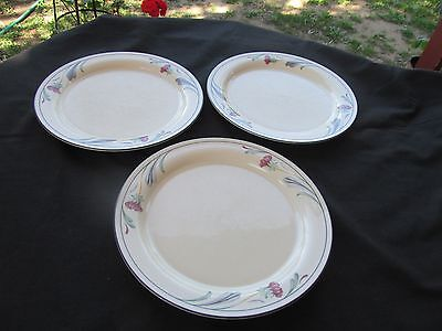 "LENOX CHINASTONE POPPIES ON BLUE ROUND DINNER PLATES 10 3/4"" USA blue veins"