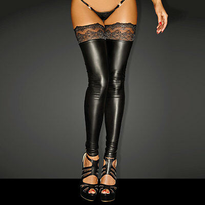 Powerwetlook SUPERSTAR Stockings with Siliconed Lace - NOIR Handmade