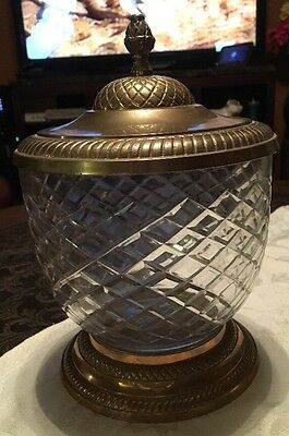 Large Vintage Glass Diamond Cut Jar With Brass Base & Brass Lid 10""