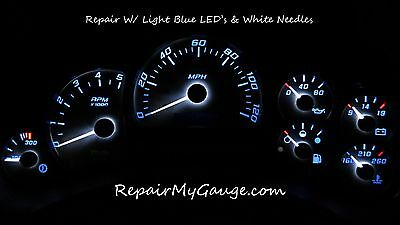 Chevy Silverado Speedometer Instrument Cluster Repair w/light blue Leds, white