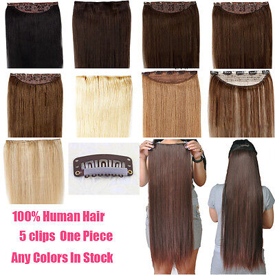 "18"" One Piece Hair Extensions Clip In Human Hair Extensions Full Head 100g 120g"