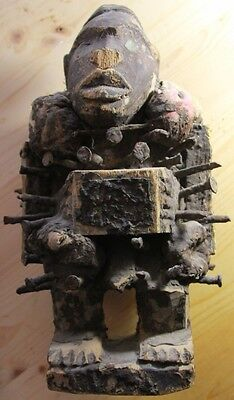 Hand-Carved Magical African Bakongo (Congo) Nail-Fetish Idol