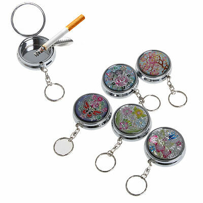 Portable Pocket Stainless Steel Round Cigarette Ashtray With Keychain