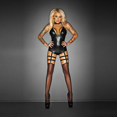 NOIR Handmade - IMMORAL - F109 - OUTRAGEOUS Bodysuit with Garter Belt