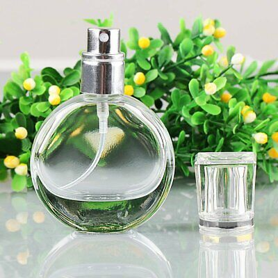 25ml Empty Glass Perfume Spray Bottle Round Atomizer Refillable Travel Container