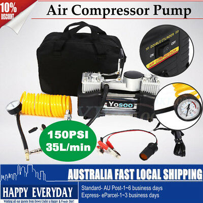 150PSI 60L Air Compressor 4X4 4WD Car Tyre Inflator Kit Pressure Pump Tool 12V