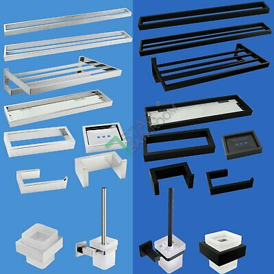 Bathroom Accessory Sets Chrome Black Square Towel Rack Rail Paper Holder Hanger