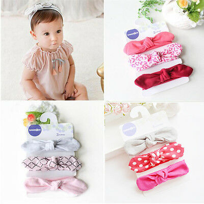 3pcs/Set Toddler Girls Kids Baby Bow Hairband Headband Turban Knot Head Wrap