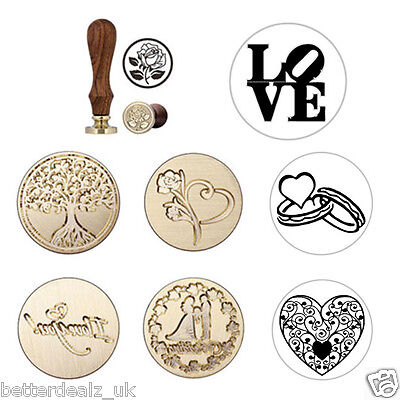 DIY Retro 16 Pattern Seal Wax Stamp Wooden Handle For Wedding Invitation Letter