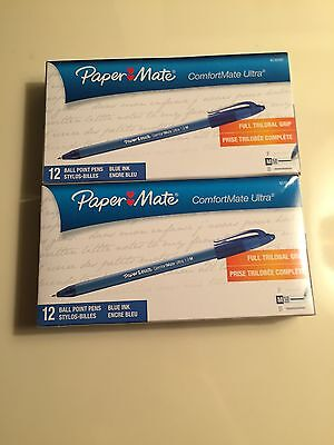 2 Box Lot-Papermate Comfortmate Blue Medium Ink Ballpoint Pens, Pack Of 12
