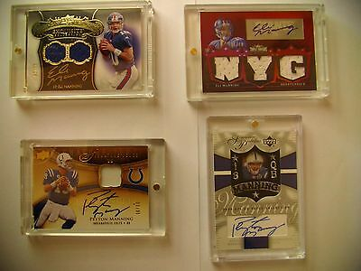 New York Giants Eli & Peyton Manning Signed Card plus Fabric Card Collection