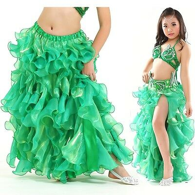 KS01# Kids Girls Belly Dance Costume Slit Skirt 8 Colors 3 Sizes