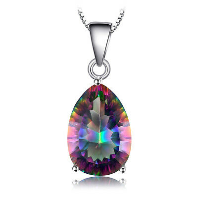 JewelryPalace Pear Genuine Fire Rainbow Coated Quartz Pendant Necklace925 Silver