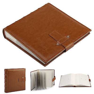 "6x4"" Brown Leather Album Vintage Cover Can Accommodate 200Pcs Photos With Memo"