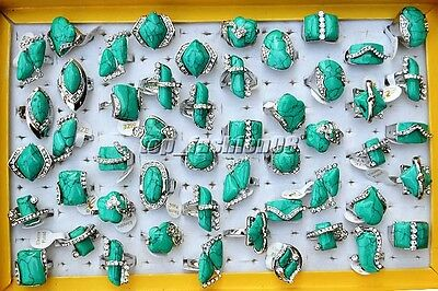 5pcs Rhinestone Natural Turquoise Silver Plated Woman Rings Wholesale Lot FREE