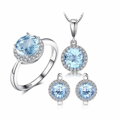 JewelryPalace 10.7ct Genuine Sky Blue White Topaz Jewelry Set 925 SterlingSilver