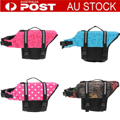 Pet PFD Dog Puppy Life Jacket Saver Swimming Vest Clothes Reflective Boating AU
