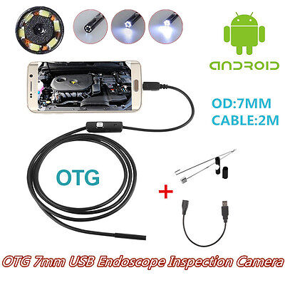 Portable Autos OTG 7mm USB Endoscope Inspection Camera With 6LED For Android 4.0