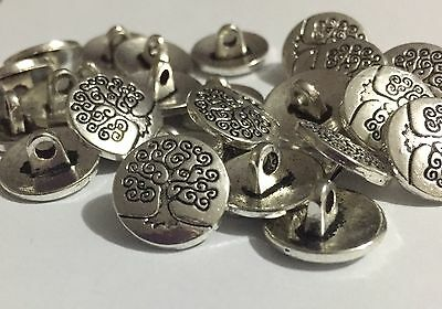 5 x 14.5mm Silver Tone Tree Of Life Shank Buttons - Australian Supplier