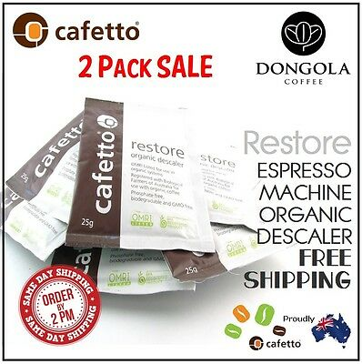 2 x 25g RESTORE DESCALER Coffee Espresso Machine & Equipment Cleaner by CAFETTO