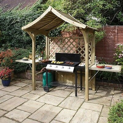 Wooden Garden Arbour Bench BBQ Shelter With Side Tables Timber FSC Outdoor Patio