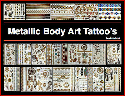 Metallic Mandala Tattoo Body Art Henna Jewellery Bracelet Butterfly Tribal Flash