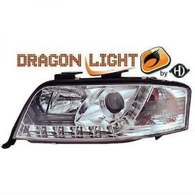 Audi A6 LED Tagfahrlicht Scheinwerfer Set Dragon Light chrom Bj.01-04