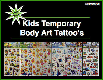Kids Temporary Tattoos Boys Girls Body Art Sticker Thomas Barbie Minion Princess
