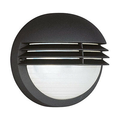 Philips/Massive Boston Round Bulkhead Outdoor Outside Wall Light - Black Louvres