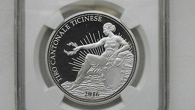 2016 Switzerland 50 Francs Ticino Shooting Thaler Silver Proof coin