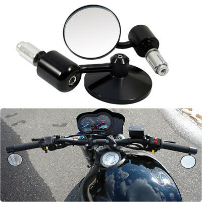"Motorcycle Black 3""Round 7/8"" Handle Bar End Rearview Side Mirrors For Honda UK"